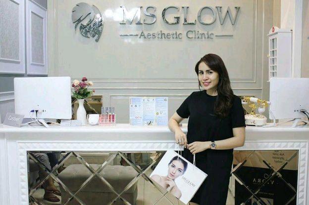 klinik resmi ms glow didatangi artis (momo geisha)